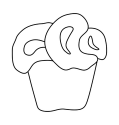 Cupcake icon in outline style vector