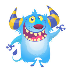 Cute fluffy blue monster yeti vector