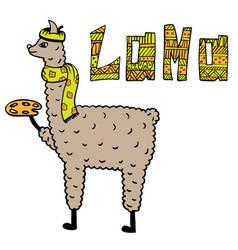 Cute hand-drawn of a lama vector