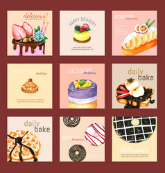 Dessert card set hand drawn watercolour for design vector