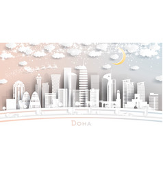 doha qatar city skyline in paper cut style with vector image
