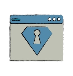 Drawing web page security system technology vector