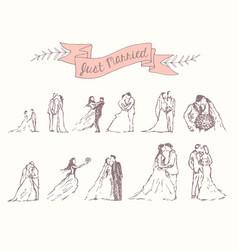 drawn set bride groom decoration invitation vector image