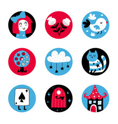 Fairytale stickers vector