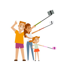 Family members parents and daugther make selfie vector