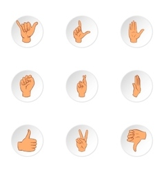 Fingers icons set cartoon style vector