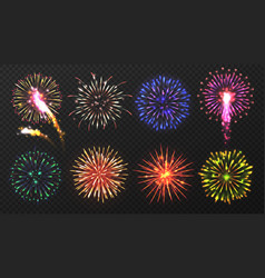 Fireworks various multicolored firework vector