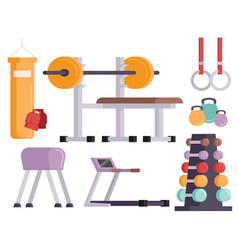 Fitness gym club icons athlet and sport vector