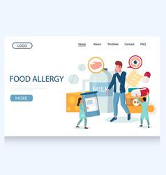 Food allergy website landing page design vector