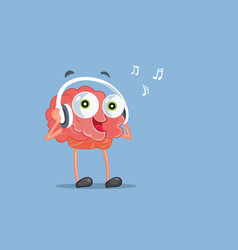Funny cartoon brain listening to music vector