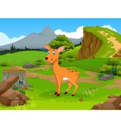 Funny deer cartoon in the jungle vector