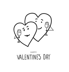 Funny hand drawn valentines day hearts vector