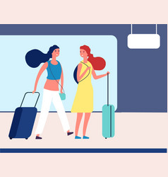 Girls with suitcases young travellers in airport vector