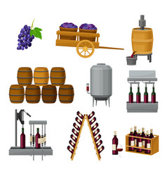 Grape wine production with alcoholic fermentation vector