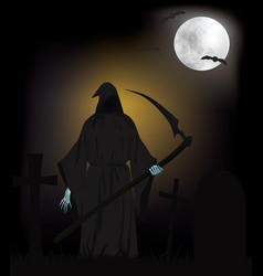 grim reaper on cemetery vector image