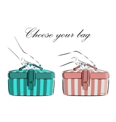 Hand drawn female bag with wide stripes icon vector