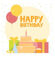 Happy birthday card design with ballons confetti vector