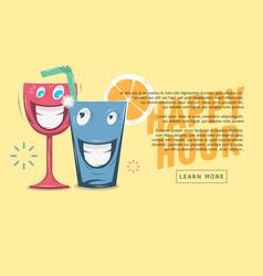 Happy hour web banner design funny cartoon vector