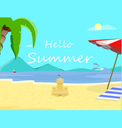 hello summer beach backdrop seascape flyer banner vector image