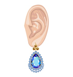 Human ear and hanging earring vector image