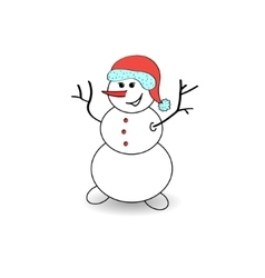 Joyful snowman on a white background vector