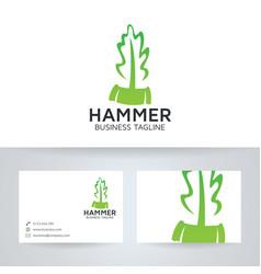leaf hammer logo design vector image