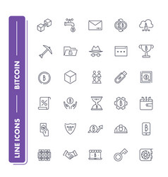 line icons set bitcoin vector image