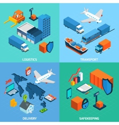 Logistics Isometric Set vector