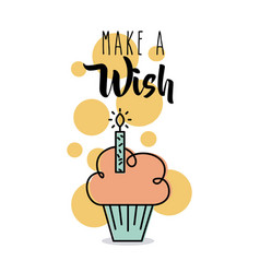 make a wish card greeting cupcake candle vector image