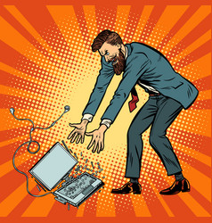 man destroys laptop stress at work vector image