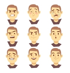 Man emotions faces cartoon business vector image