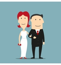 Man in suit and woman in evening dress vector