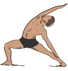 man yoga pose virabhadarsana exercise vector image
