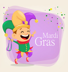 mardi gras jester holding necklaces vector image