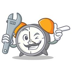 Mechanic alarm clock mascot cartoon vector