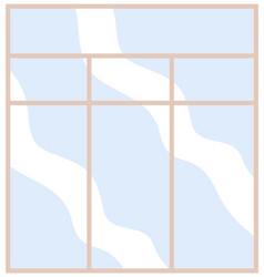 Modern wide window with transparent glass vector