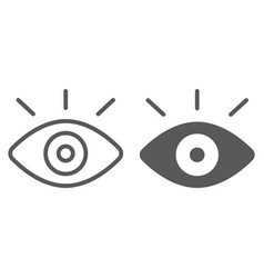 monitiring line and glyph icon security and eye vector image