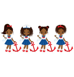 nautical little african american girls vector image