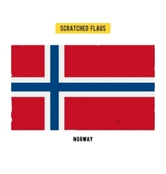 Norwegian grunge flag with little scratches on vector image