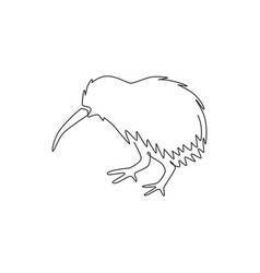 one single line drawing cute kiwi animal vector image