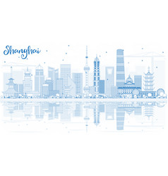 Outline shanghai skyline with blue buildings and vector