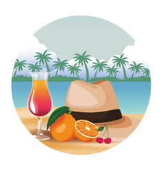 Panama hat with cocktail vector