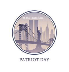 patriot day new york skyline 11 september 2001 vector image