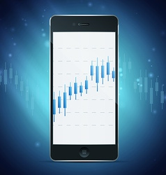 Phone with forex chart on desktop vector
