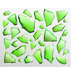 pieces broken green glass realistic vector image