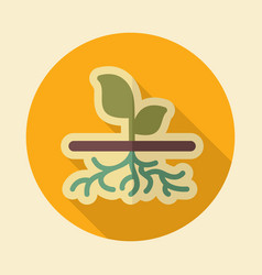 Plant with roots flat icon garden vector