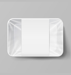 plastic food container with label white empty vector image