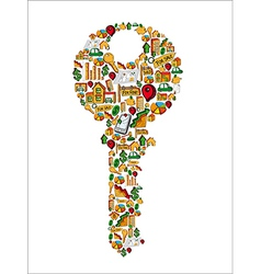 Real estate icons in a house key vector