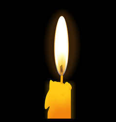 realistic burning candle isolated on black vector image