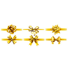 realistic golden ribbons with bows holiday gift vector image
